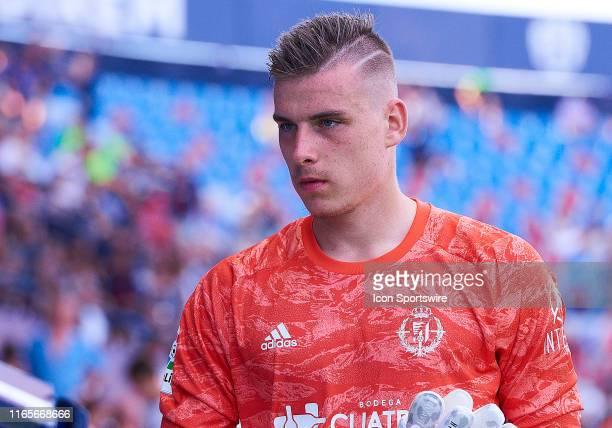 Andriy Lunin, goalkeepers of Real Valladolid CF warms up prior the La Liga match between Levante UD and Real Valladolid CF at Ciutat de Valencia...