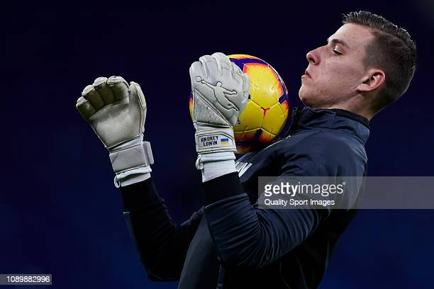 Andriy Lunin of CD Leganes during the pre match warm up before the La Liga match between RCD Espanyol and CD Leganes at RCDE Stadium on January 04...