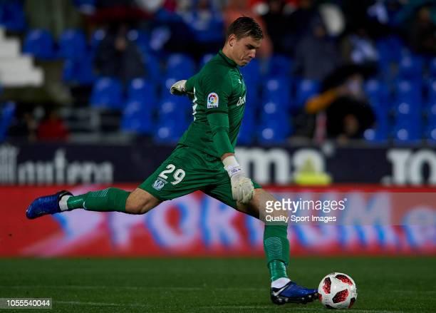 Andriy Lunin of Leganes in action during the Copa del Rey match between Leganes and Rayo Vallecano at Estadio Municipal de Butarque on October 30...