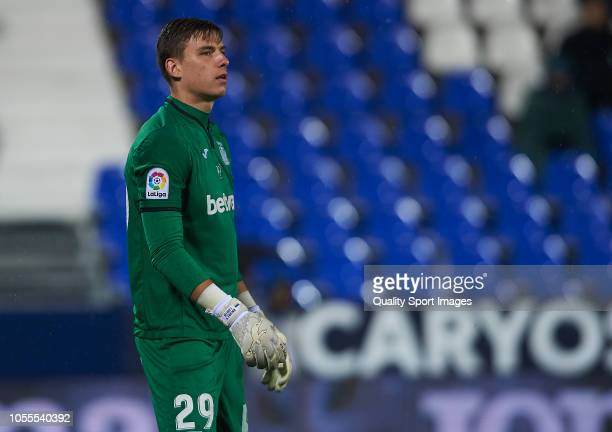 Andriy Lunin of Leganes looks on during the Copa del Rey match between Leganes and Rayo Vallecano at Estadio Municipal de Butarque on October 30 2018...