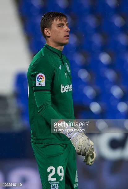 Andriy Lunin of Leganes reacts during the Copa del Rey match between Leganes and Rayo Vallecano at Estadio Municipal de Butarque on October 30 2018...
