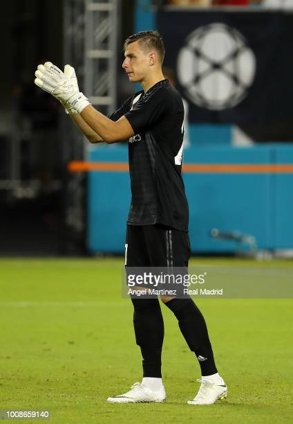 Andriy Lunin of Real Madrid applauds during the International Champions Cup 2018 match between Manchester United and Real Madrid at Hard Rock Stadium...