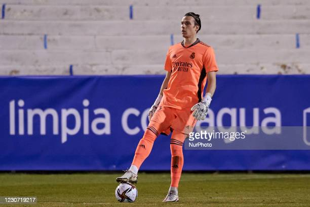 Andriy Lunin of Real Madrid controls the ball during the round of 32 the Copa del Rey match between CD Alcoyano and Real Madrid at Campo Municipal de...