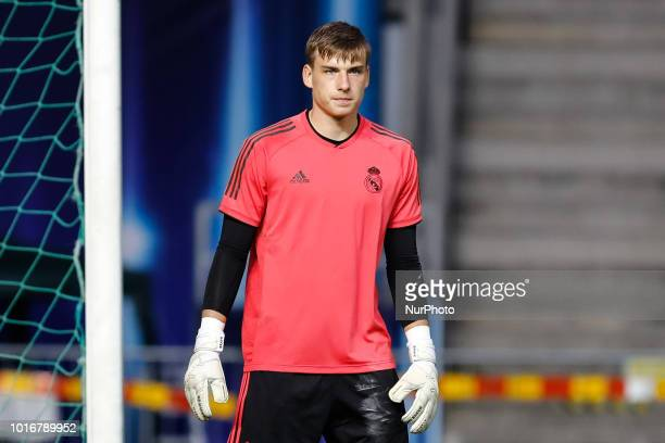 Andriy Lunin of Real Madrid during a Real Madrid training session ahead of the UEFA Super Cup match against Atletico Madrid on August 14 2018 at...