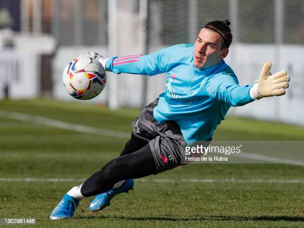Andriy Lunin of Real Madrid during a training session at the Valdebebas training ground on February 19, 2021 in Madrid, Spain.
