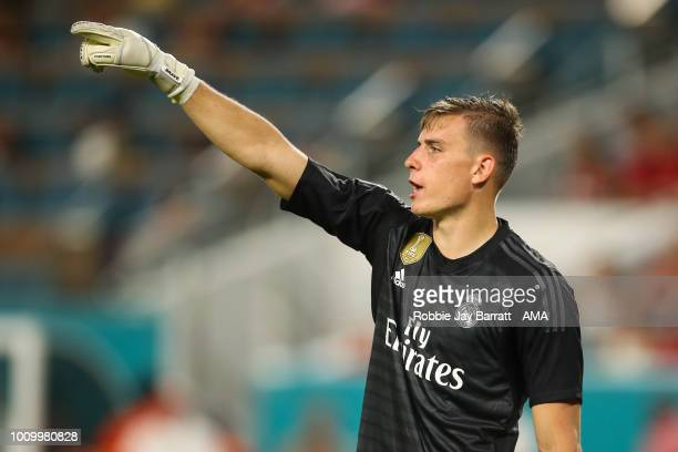 Andriy Lunin of Real Madrid during the International Champions Cup 2018 fixture between Manchester United v Real Madrid at Hard Rock Stadium on July...