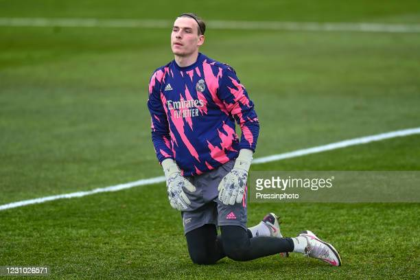 Andriy Lunin of Real Madrid during the La Liga match between SD Huesca and Real Madrid Madrid played at El Alcoraz Stadium on February 6, 2021 in...