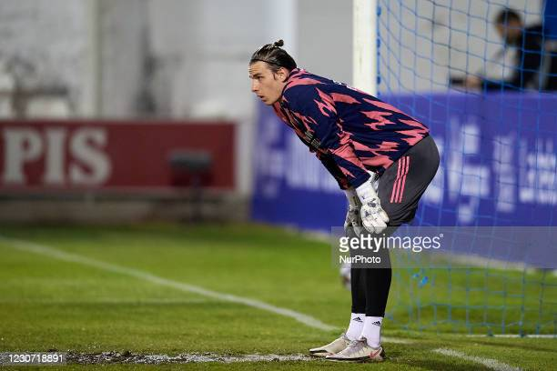 Andriy Lunin of Real Madrid during the warm-up before the round of 32 the Copa del Rey match between CD Alcoyano and Real Madrid at Campo Municipal...