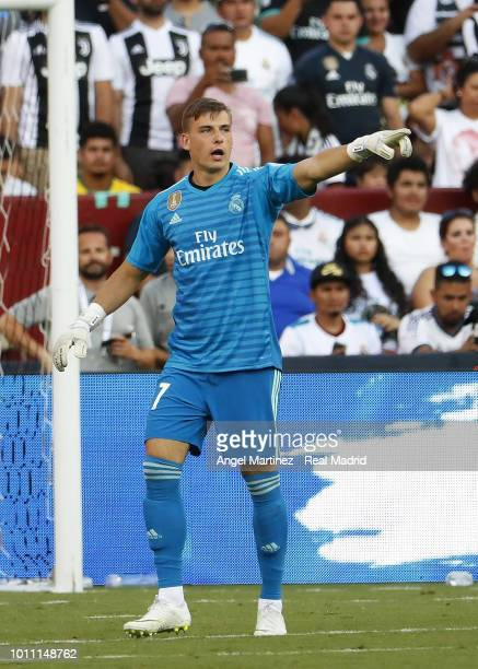 Andriy Lunin of Real Madrid gestures during the International Champions Cup 2018 match between Real Madrid and Juventus at FedExField on August 4...