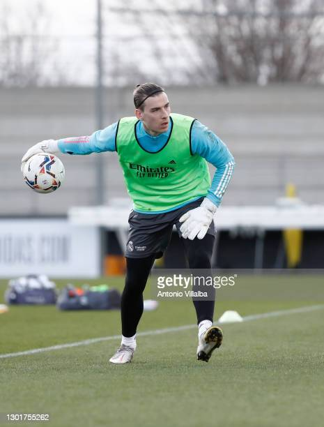 Andriy Lunin of Real Madrid in action at Valdebebas training ground on February 12, 2021 in Madrid, Spain.