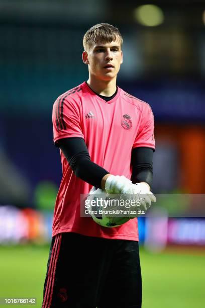 Andriy Lunin of Real Madrid in action during a training session ahead of the UEFA Super Cup at A Le Coq Arena on August 14 2018 in Tallinn Estonia