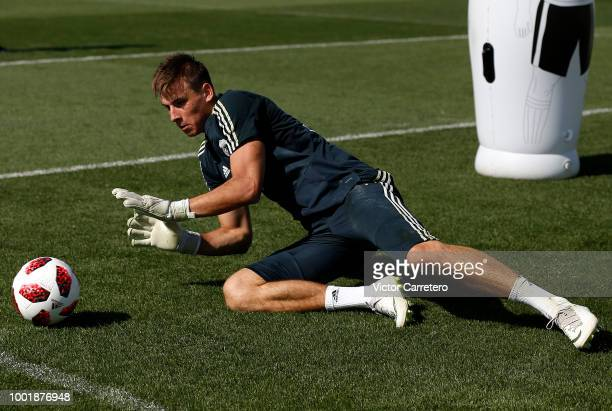 Andriy Lunin of Real Madrid in action during a training session at Valdebebas training ground on July 19 2018 in Madrid Spain