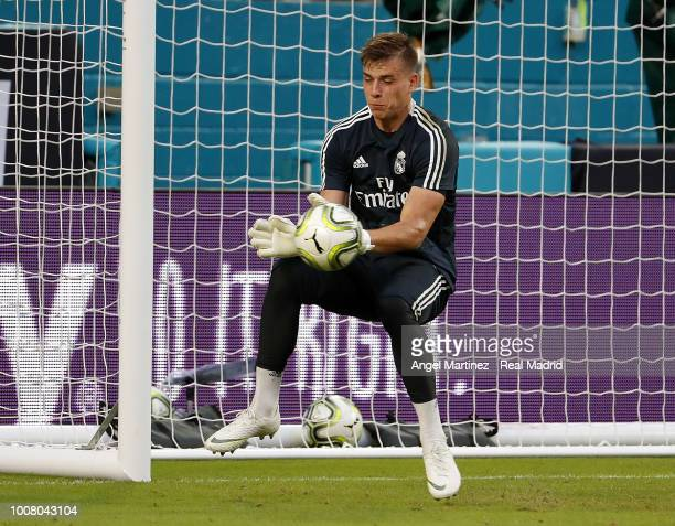 Andriy Lunin of Real Madrid in action during a training session at Hard Rock Stadium on July 30 2018 in Miami Florida