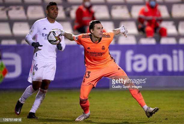 Andriy Lunin of Real Madrid in action during the Copa del Rey third round match between CD Alcoyano and Real Madrid at El Collao on January 20, 2021...