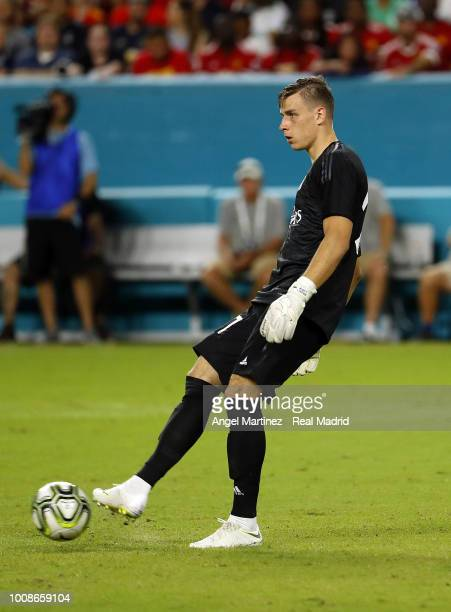 Andriy Lunin of Real Madrid in action during the International Champions Cup 2018 match between Manchester United and Real Madrid at Hard Rock...