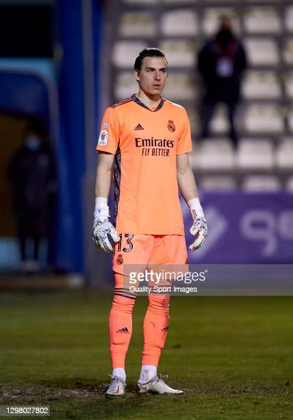 Andriy Lunin of Real Madrid looks on during the Copa del Rey third round match between CD Alcoyano and Real Madrid at El Collao on January 20, 2021...