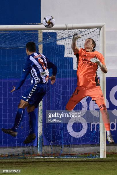 Andriy Lunin of Real Madrid makes a save during the round of 32 the Copa del Rey match between CD Alcoyano and Real Madrid at Campo Municipal de El...