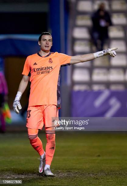 Andriy Lunin of Real Madrid reacts during the Copa del Rey third round match between CD Alcoyano and Real Madrid at El Collao on January 20, 2021 in...