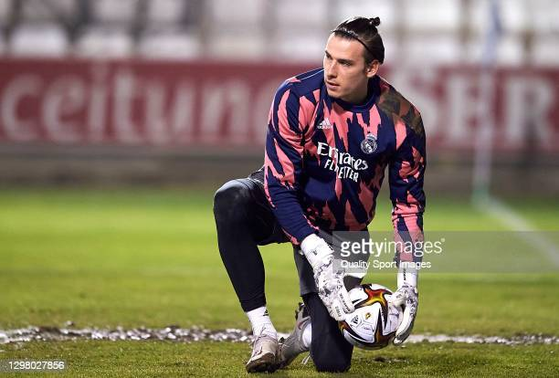 Andriy Lunin of Real Madrid warms up prior to the Copa del Rey third round match between CD Alcoyano and Real Madrid at El Collao on January 20, 2021...