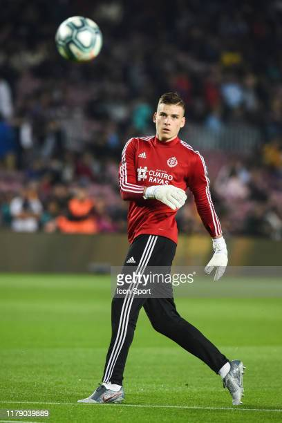 Andriy Lunin of Real Valladolid warm up during the Liga match between Barcelona and Valladolid at Camp Nou on October 29 2019 in Barcelona Spain