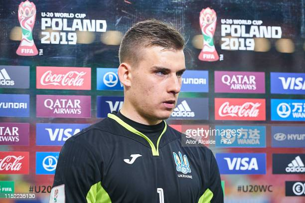 Andriy Lunin of Ukraine attend to the media at the flash interview during the 2019 FIFA U20 World Cup group D match between Qatar and Ukraine at...