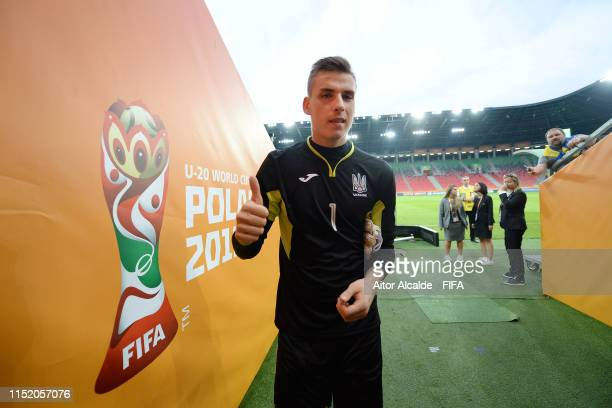 Andriy Lunin of Ukraine celebrates victory following the 2019 FIFA U20 World Cup group D match between Qatar and Ukraine at Tychy Stadium on May 27...