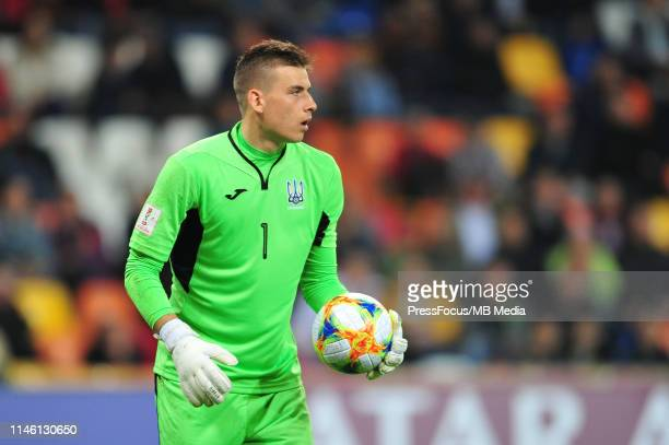 Andriy Lunin of Ukraine in action during the FIFA U20 World Cup match between Ukraine and USA on August 19 2019 in Bielsko Biala Poland