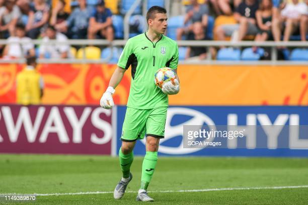 Andriy Lunin of Ukraine seen in action during the FIFA U-20 World Cup match between Ukraine and Italy in Gdynia. .