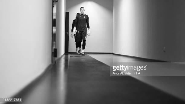 Andriy Lunin of Ukraine walks out of the dressing room during the 2019 FIFA U20 World Cup group D match between Qatar and Ukraine at Tychy Stadium on...