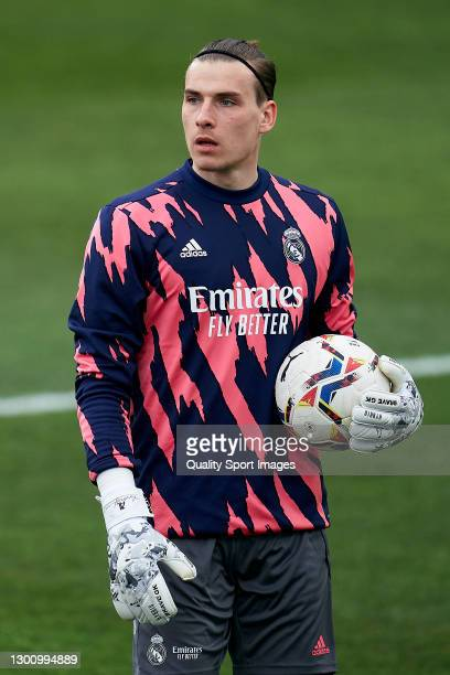 Andriy Lunin Real Madrid during the prematch warm up prior to the La Liga Santander match between SD Huesca and Real Madrid at Estadio El Alcoraz on...