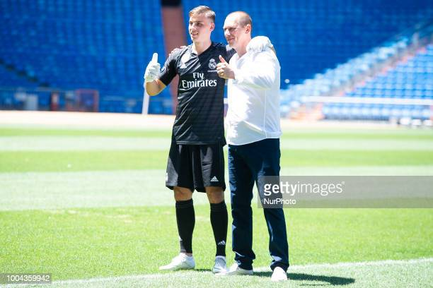 Andriy Lunin with his father during his presentation as new Real Madrid goalkeeper at Santiago Bernabéu Stadium in Madrid Spain July 23 2018