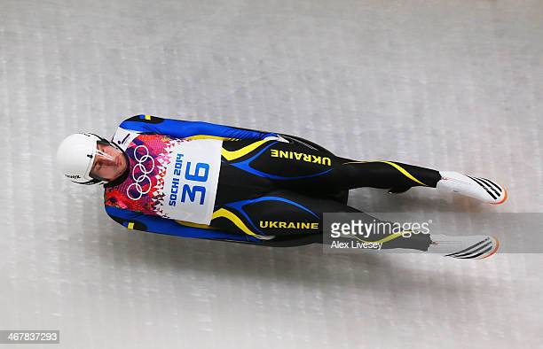 Andriy Mandziy of Ukraine makes a run during the Luge Men's Singles on Day 1 of the Sochi 2014 Winter Olympics at the Sliding Center Sanki on...