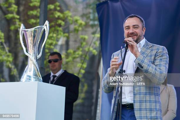 Andriy Pavelko president of the Football Federation of Ukraine speaks during the UEFA Champions League Trophy Handover event on April 21 2018 in Kiev...