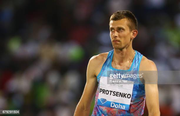 Andriy Protsenko of Ukraine looks on as he competes in the Men's High Jump during the Doha IAAF Diamond League 2017 at the Qatar Sports Club on May 5...