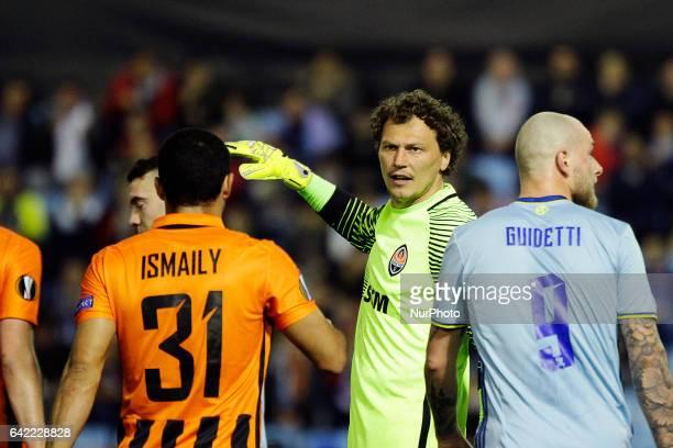 Andriy Pyatov goalkeeper of Shakhtar Donetsk reacts during the UEFA Europa League Round of 16 first leg match between Celta de Vigo and Shakhtar...