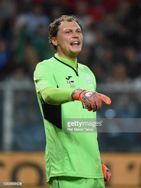Andriy Pyatov Goalkeeper of Ukraine gestures during the International Friendly match between Italy and Ukraine on October 10 2018 in Genoa Italy