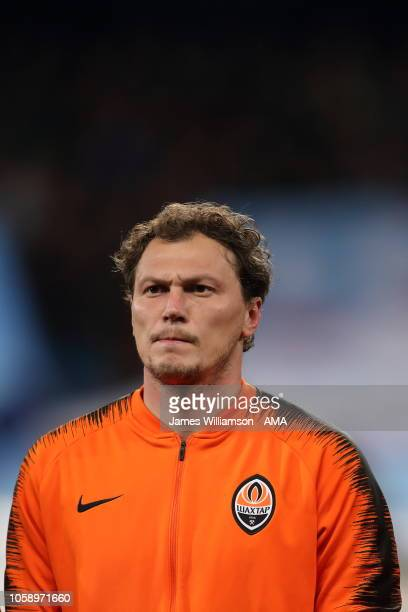Andriy Pyatov of Shakhtar Donetsk during the Group F match of the UEFA Champions League between Manchester City and FC Shakhtar Donetsk at Etihad...