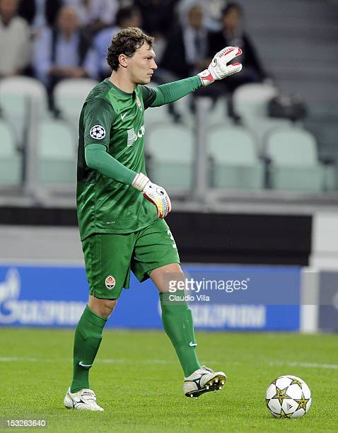 Andriy Pyatov of Shakhtar Donetsk during the UEFA Champions League Group E match between Juventus FC and Shakhtar Donetsk at Juventus Arena on...