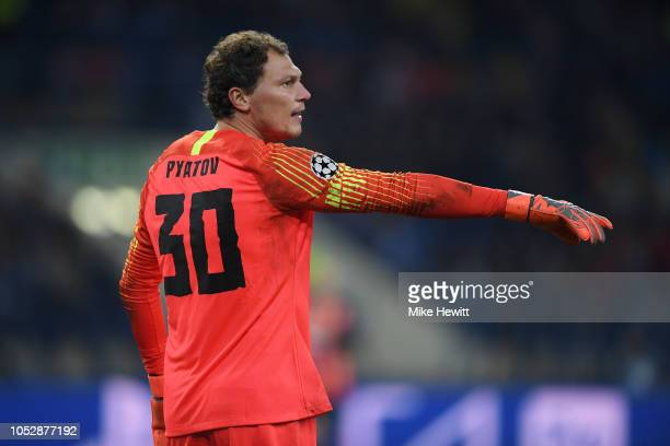 Andriy Pyatov of Shakhtar Donetsk in action during the Group F match of the UEFA Champions League between FC Shakhtar Donetsk and Manchester City at...