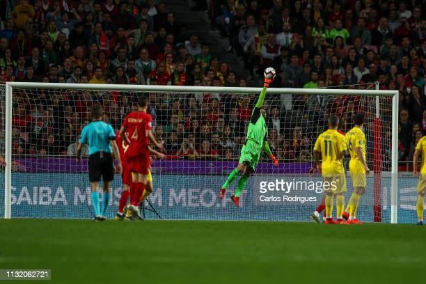 Andriy Pyatov of Ukraine during the 2020 UEFA European Championships qualifying match between Portugal and Ukraine at Estadio do Sport Lisboa e...