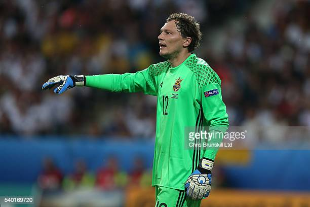 Andriy Pyatov of Ukraine gestures during the UEFA Euro 2016 Group C match between Germany and Ukraine at Stade PierreMauroy on June 12 2016 in Lille...