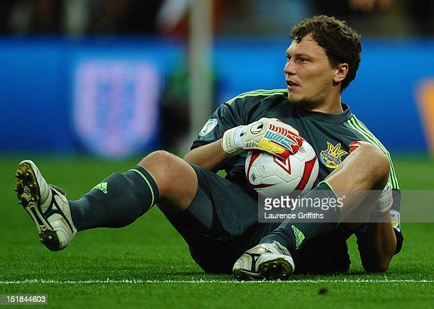 Andriy Pyatov of Ukraine grabs the ball during the FIFA 2014 World Cup Group H qualifying match between England and Ukraine at Wembley Stadium on...