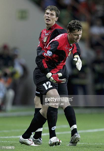 Andriy Pyatov of Ukraine is subsituted with Olexandr Rybka before the penalties during the UEFA U21's Championship 2006 match between Ukraine and...