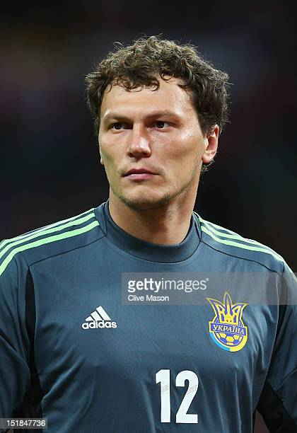 Andriy Pyatov of Ukraine looks on during the FIFA 2014 World Cup Group H qualifying match between England and Ukraine at Wembley Stadium on September...