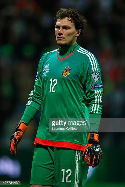 Andriy Pyatov of Ukraine looks on during the UEFA EURO 2016 qualifier playoff second leg match between Slovenia and Ukraine at Ljudski Vrt Stadium on...