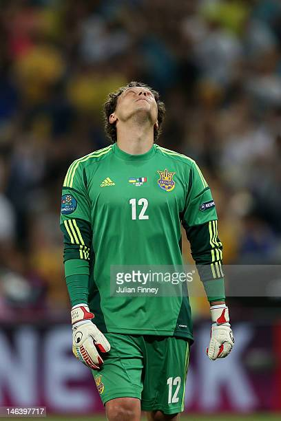 Andriy Pyatov of Ukraine reacts during the UEFA EURO 2012 group D match between Ukraine and France at Donbass Arena on June 15 2012 in Donetsk Ukraine
