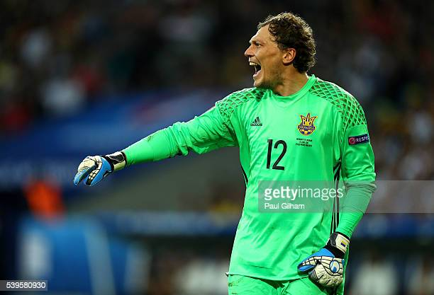 Andriy Pyatov of Ukraine shouts during the UEFA EURO 2016 Group C match between Germany and Ukraine at Stade PierreMauroy on June 12 2016 in Lille...