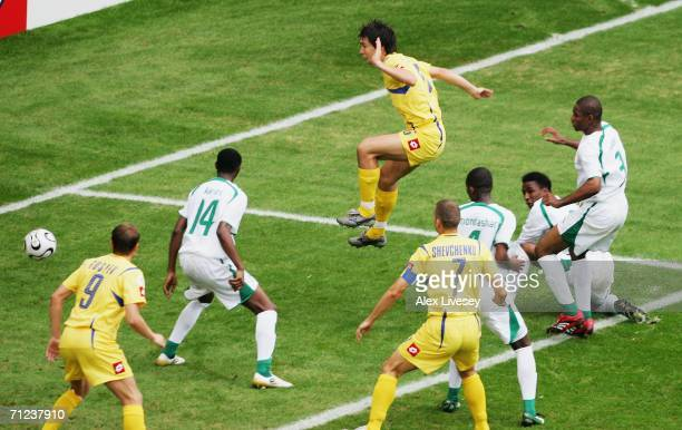 Andriy Rusol of Ukraine scores the opening goal during the FIFA World Cup Germany 2006 Group H match between Saudi Arabia and Ukraine played at the...