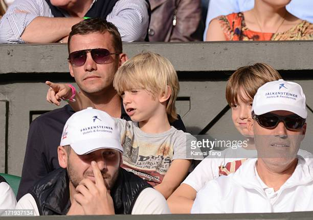 Andriy Schevchenko attends the Novak Djokovic vs Jeremy Chardy match on Day 6 of the Wimbledon Lawn Tennis Championships at the All England Lawn...