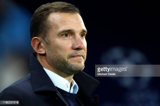 Andriy Schevchenko, Manager of Ukraine looks on prior to the UEFA Champions League group C match between Manchester City and Shakhtar Donetsk at...